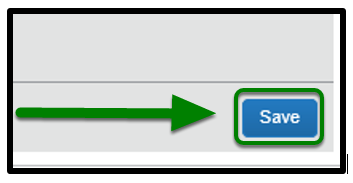 Save button is selected, and there is a green arrow pointing towards it.