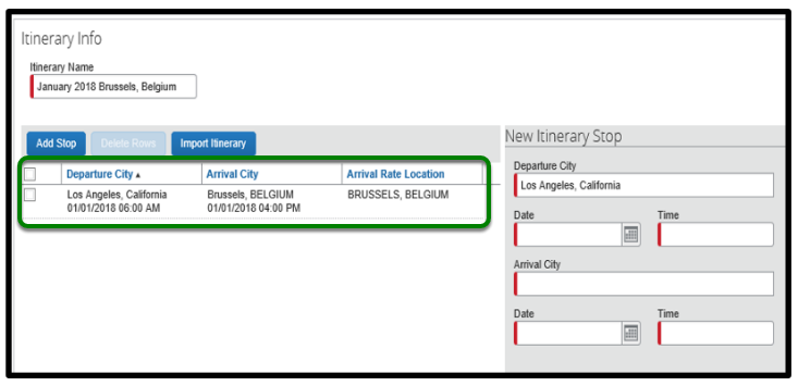 Itinerary info window. The departure city, arrival city and arrival rate location are displayed.