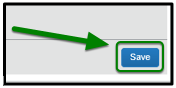 Save button. The button is selected, and there is a green arrow pointing towards it.