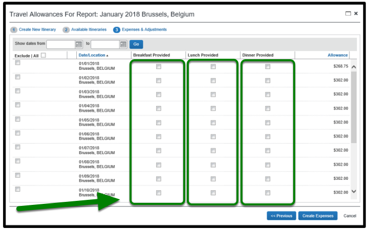 Travel Allowances for Report window. Breakfast, lunch, and dinner provided fields are displayed, and there is a green arrow pointing towards them.