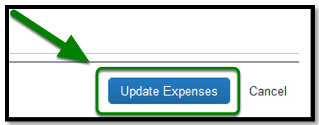 Update Expenses button is selected, and there is a green arrow pointing towards it.