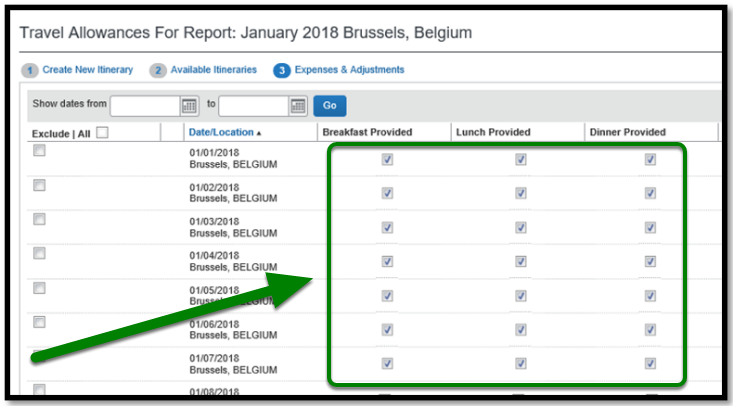 Travel Allowances for Report window. The breakfast, lunch, and dinner provided fields are displayed, and there is a green arrow pointing towards them.