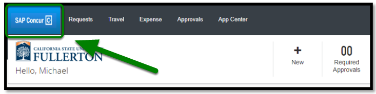 Green arrow pointing to Concur homepage on dashboard.