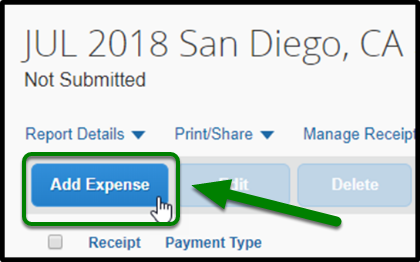 Highlight of locating the Add Expense button.