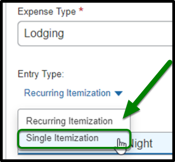 Highlight of selecting Single Itemization from Entry Type dropdown list.