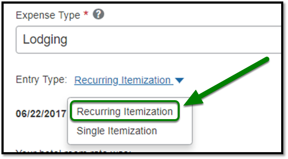 Highlight showing Recurring Itemization being selected from Entry Type.