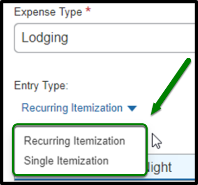 Highlight of selecting an option under Entry Type.