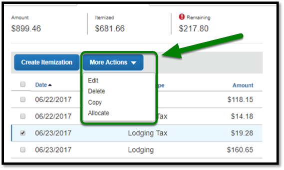 Selecting More Actions allows editing, deleting, copying, or allocating expenses.