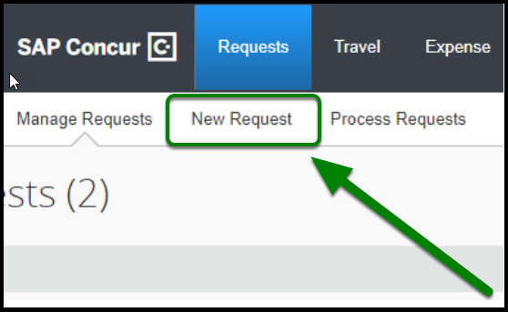 Use the New Request button to start.