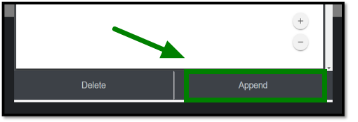 Green arrow pointing towards the Append button under the attached receipt.