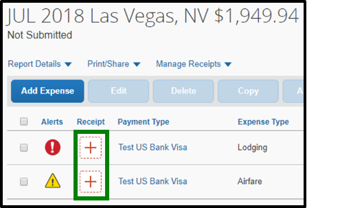 Green box highlighting the plus icons under Receipt heading.