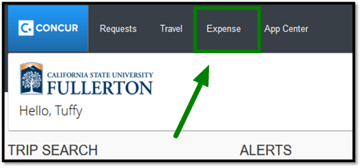 Green arrow pointing towards Expense tab in Concur dashboard.