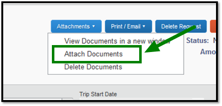 Green arrow pointing to Attach Documents function on dropdown menu under Attachments.