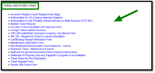 List of Travel and Pcard Forms links.