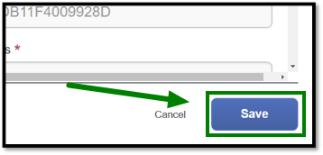 Arrow pointing towards Save button to complete action.