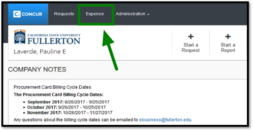Arrow pointing towards Expense tab on Concur dashboard.