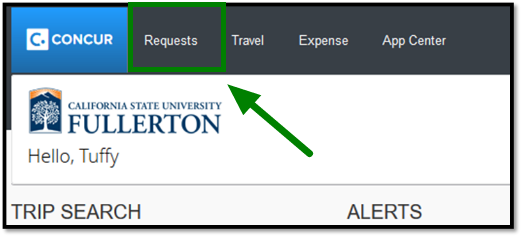 Green arrow pointing towards Requests tab on Concur dashboard.