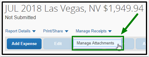 Green arrow pointing to Manage Attachments, an option under Manage Receipts.