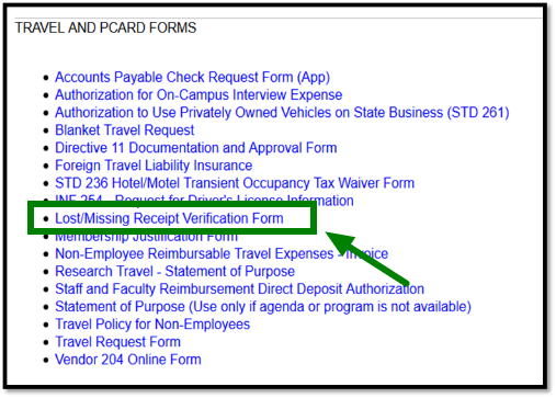 Arrow pointing towards Lost/Missing Receipt Verification Form.