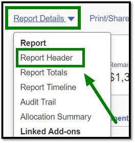 Arrow pointing towards dropdown menu under Report Details link.