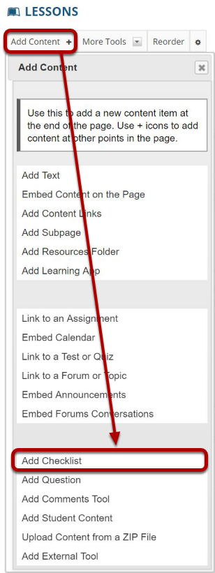 Click Add Content, then Add Checklist.