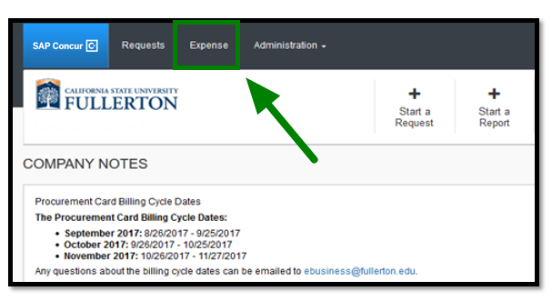 Green arrow pointing to Expense link on Concur dashboard.