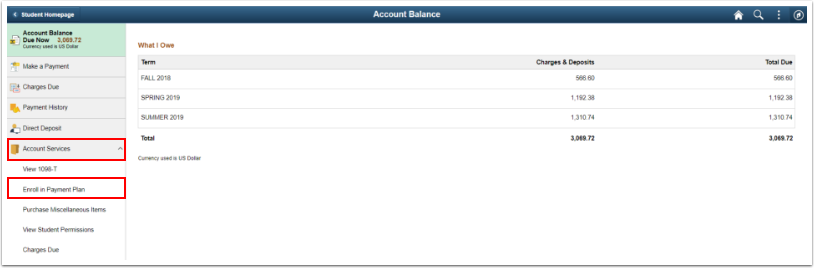 Account Services > Enroll in a Payment Plan option