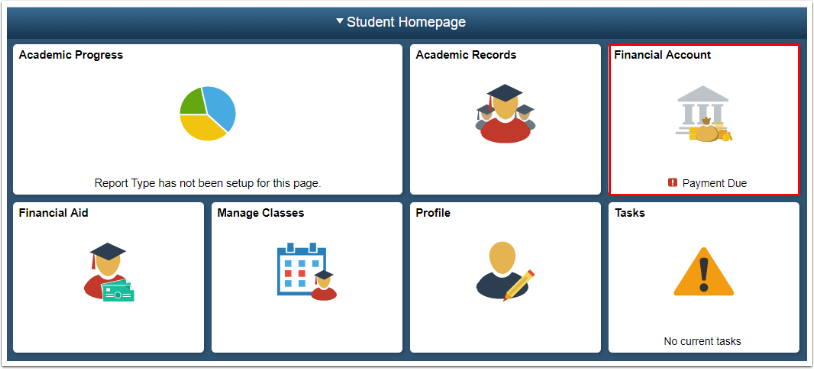 Student Homepage - Financial Account tile