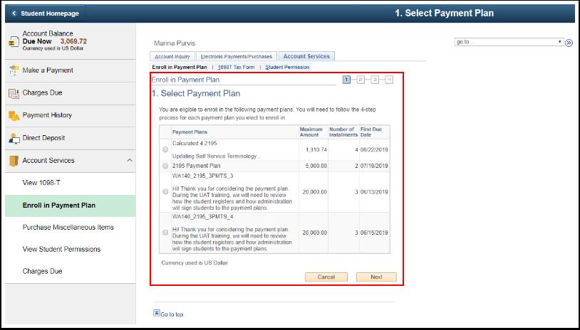 Select Payment Plan options