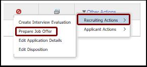 recruiting actions submenu prepare job offer