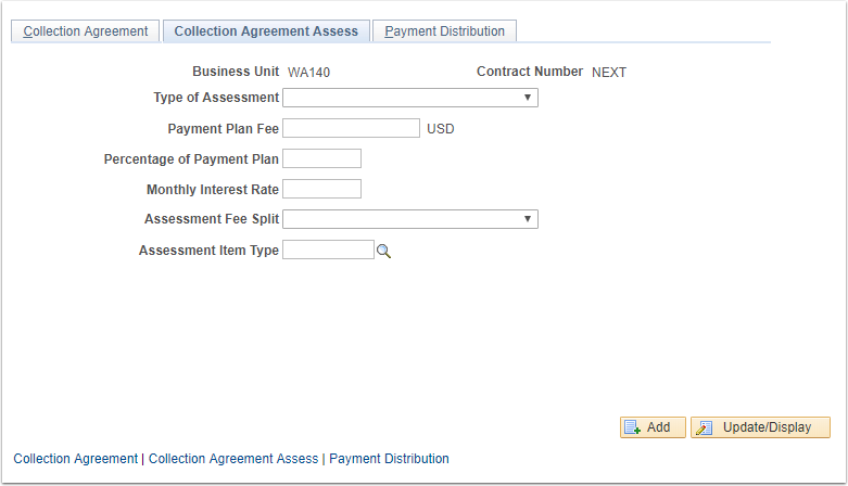 Collection Agreement Assess tab