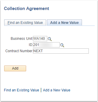 Collection Agreement Add a New Value Tab