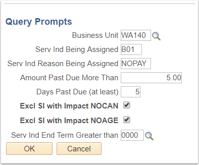 Mass Assign Query Prompts page