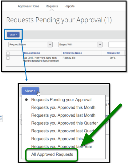 "Requests Pending your Approval field. The view option is highlighted and zoomed in to the option ""All approved requests."""