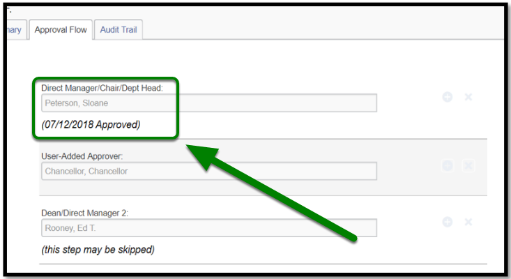 """Approval Flow tab has been opened. There is a green arrow and square highlighting the following, """"Direct Manager/Chair/Dept Head."""" Underneath there is the following, """"User-added approver"""" and""""Dean/Direct Manager 2."""