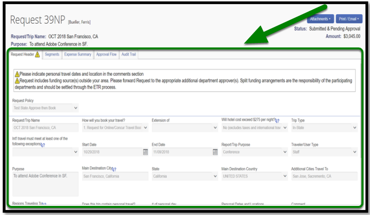 Request header field. There is a green square highlighting the entire field.