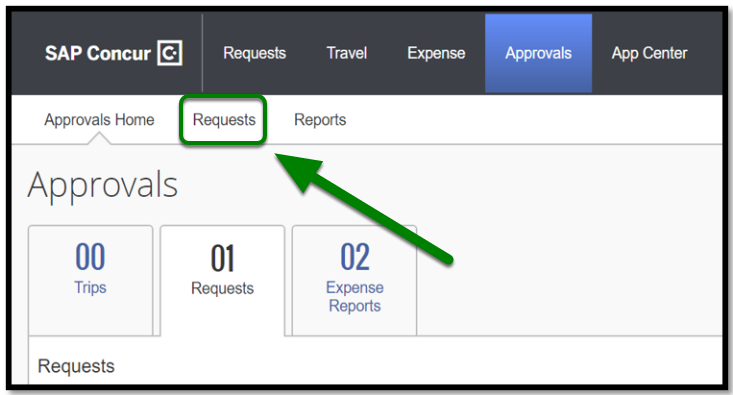 Required Approvals has been selected. There are three tabs labeled: Approvals home, Requests, and Reports. There is a green arrow pointing towards the Requests option.