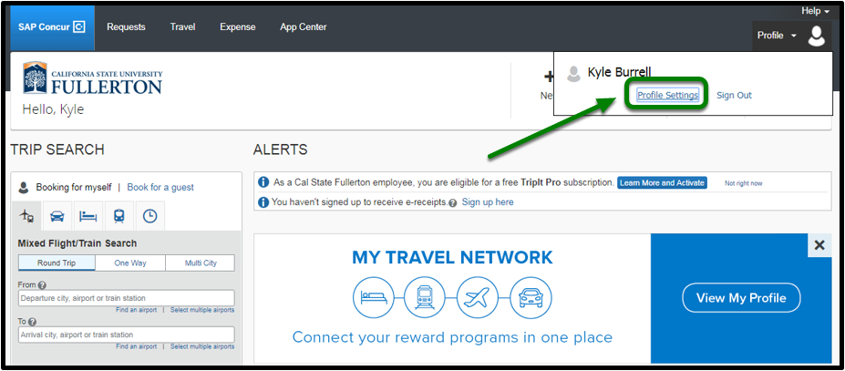 """Concur portal. On the top right-hand corner, there is an option to click on """"Profile Settings."""" This option is highlighted in green, with an arrow pointing towards it."""