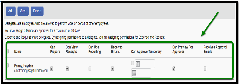 Request delegates dashboard. On the bottom, there is the name of an individual and the following checkboxes: Can prepare, can view receipts, can use reporting, receives emails, can approve temporary, can preview for approver, and receives approval emails. This field is highlighted in green with an arrow pointing toward it.