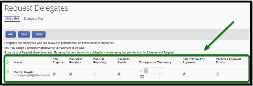 Request Delegates dashboard. On the bottom, there is the name of an individual, and the following check boxes: can prepare, can view receipts, can use reporting, receives emails, can approve temporary, can preview for approver, and receives approval emails. This field is highlighted in green with an arrow pointing towards it.