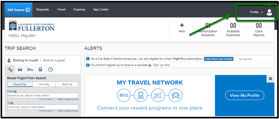 """Concur Portal. In the top right corner, there is an option to click on """"Profile."""" This option is highlighted and there is a green arrow pointing toward it."""