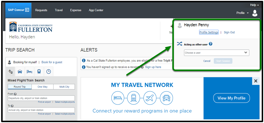 Concur Portal. The profile option has been clicked on and there is now an option to input a user's name. This field is highlighted in green with an arrow pointing toward it.