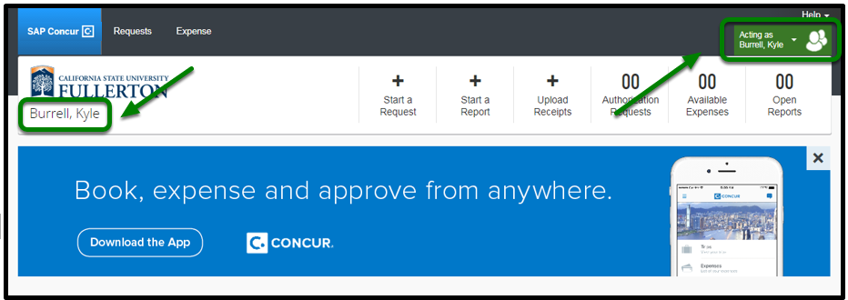 """Concur Portal. On both the left and right-hand sides, the user's name, """"Kyle Burrell"""", is listed."""