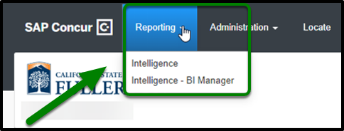 From the dashboard click on Reporting and then select either Intelligence or Intelligence BI Manager.