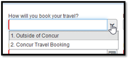 Dropdown menu with option to choose booking outside of concur or through travel booking.
