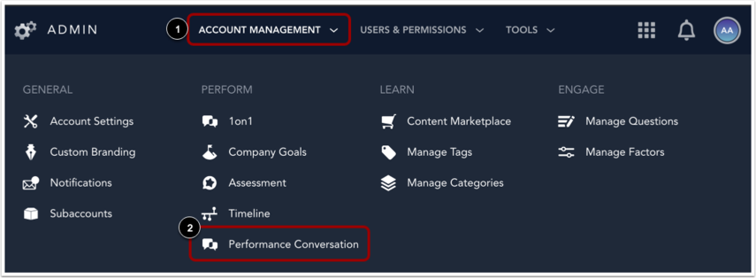 Open Performance Conversation Settings