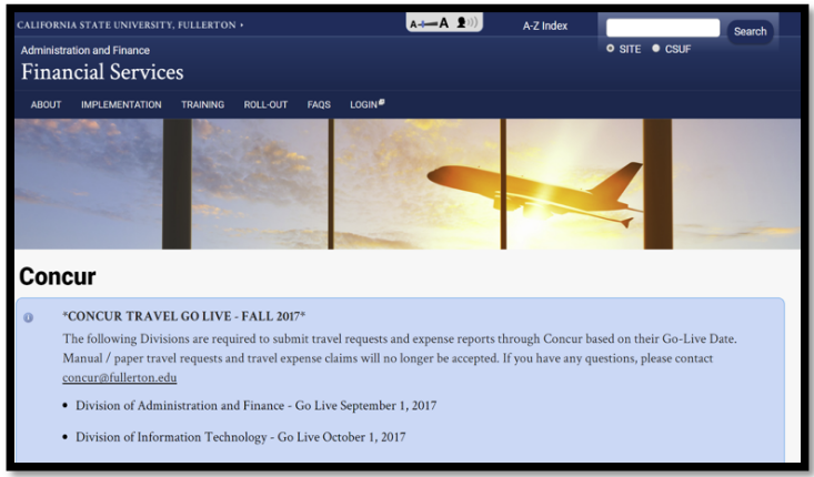 Cal State Fullerton Administration and Finance Financial Services website.