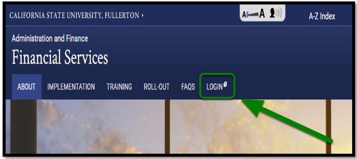 Cal State Fullerton Administration and Finance Financial Services website. There is a green arrow pointing towards the login option.