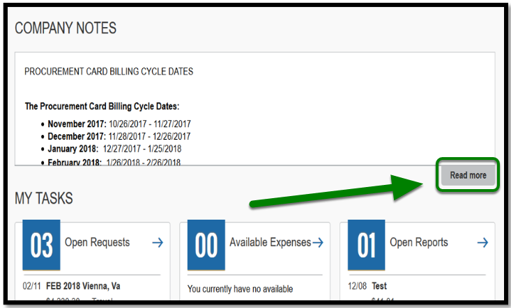 """Concur portal company notes. There is a green arrow pointing towards the """"Read more"""" option."""