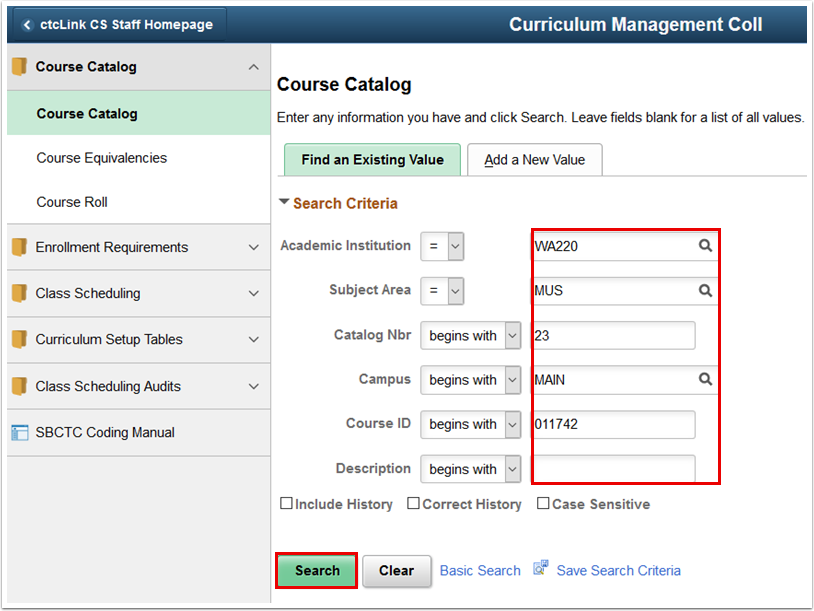 Course Catalog Find an Existing Value tab